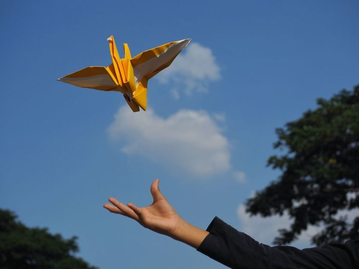 Low angle view of hand throwing origami against sky
