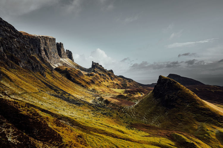 Scenic view of mountains against sky in quiraing isle of skye scotland
