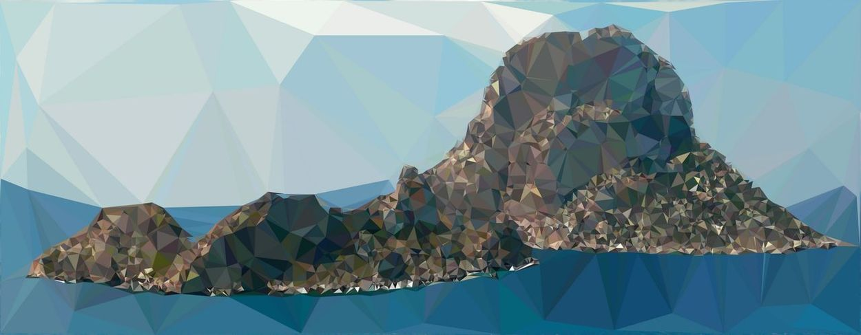 Devil Island near Ibiza as low poly illustration Architecture Art And Craft Arts Culture And Entertainment Blue Building Exterior Built Structure Celebration Clear Sky Creativity Day Decoration Hanging Low Angle View Nature No People Outdoors Pattern Sky Sunlight