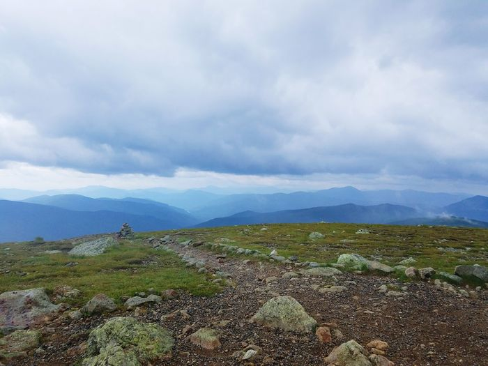 A view from the mountain ridge line. Mountain Nature Mountain Range Outdoors Hiking Adventure Green Blue New Hampshire, USA