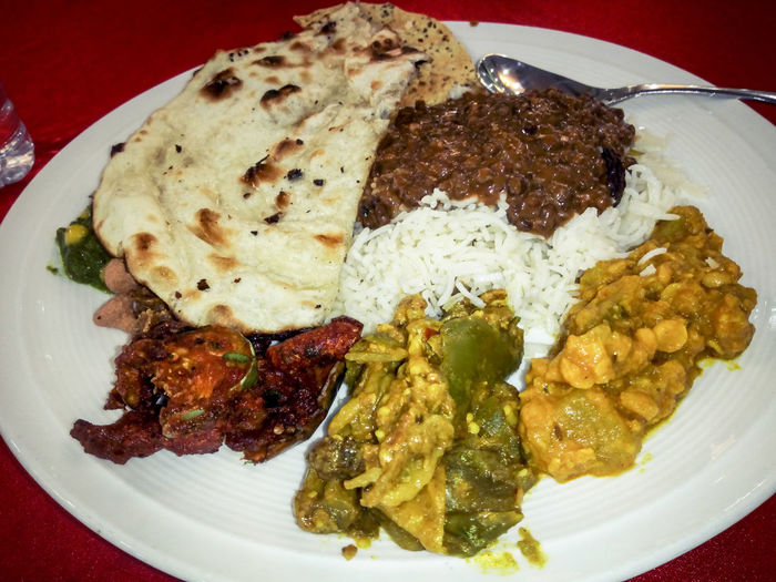 Rice Curry Naan Indian Cuisine Messy Food Food Food And Drink Plate No People Ready-to-eat Indoors  Freshness Healthy Eating Close-up Day Serving Size