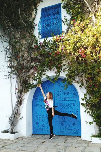 Tunisia Tunis Blue Tree Full Length Blue Standing Architecture Sky Building Exterior