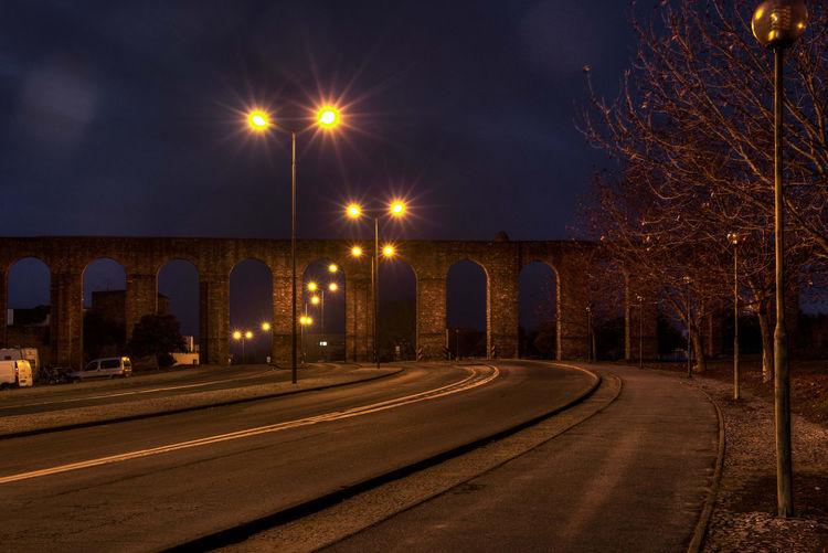 Silver Water Aqueduct Aqueduct Illuminated Night No People Pathway Road Roman Évora