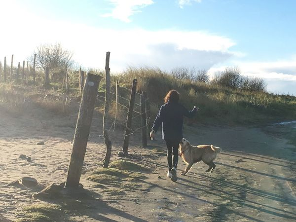 Walks! Happy Health Beauty In Nature Beach Walk Dog Pets Domestic Animals Sky One Animal Animal Themes Full Length Cloud - Sky Mammal One Person Leisure Activity Outdoors Nature Day Lifestyles Real People Sunlight Standing