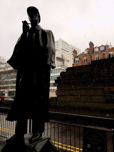 London In The Snow Statue Silhouette Outdoors Day Sky City Architecture No People