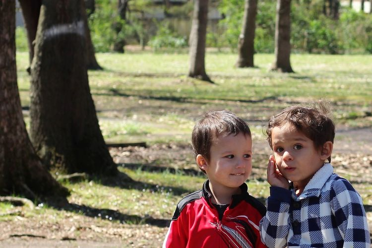Portrait of two boys whispering