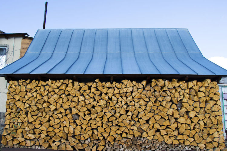 Low angle view of stack of logs in forest
