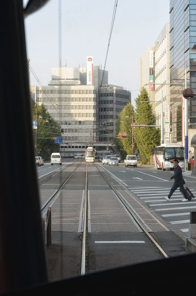 Kumamoto-shi TOWNSCAPE Taking Photos In The Tram Road Tramway Vanishing Point Walking One Person People Watching From My Point Of View Capture The Moment Kumamoto Travel Photography 熊本 旅写真