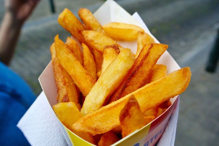 Close-up of french fries in container