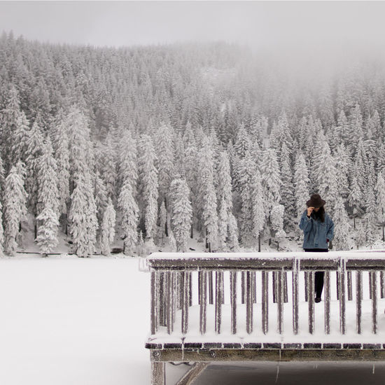 Beauty In Nature Cold Temperature Forest Frozen Frozen Lake Landscape Mystic Mystical Nature One Person Outdoors Scenics Snow Snow Covered Snow Covered Trees Snowy Tree Winter