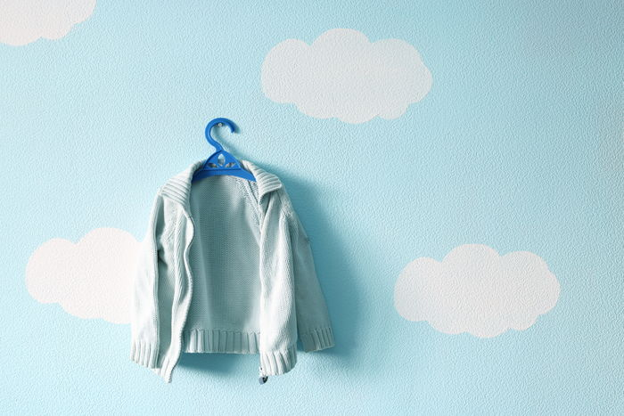 Baby sweater on the beautiful blue wallpaper Baby Background Beautiful Blue Blue Sky Bubble Close-up Clouds Coathanger Day Hanger Hanging Indoors  Interior Kid Light No People Pullover Room Sky Sweater Wallpaper Water Wool Woolen First Eyeem Photo