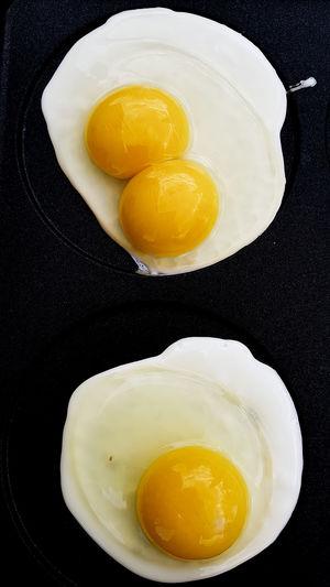 Egg Yolk Sunny Side Up Black Background Skillet- Cooking Pan Fried Egg Yellow Egg White Breakfast Fried Egg