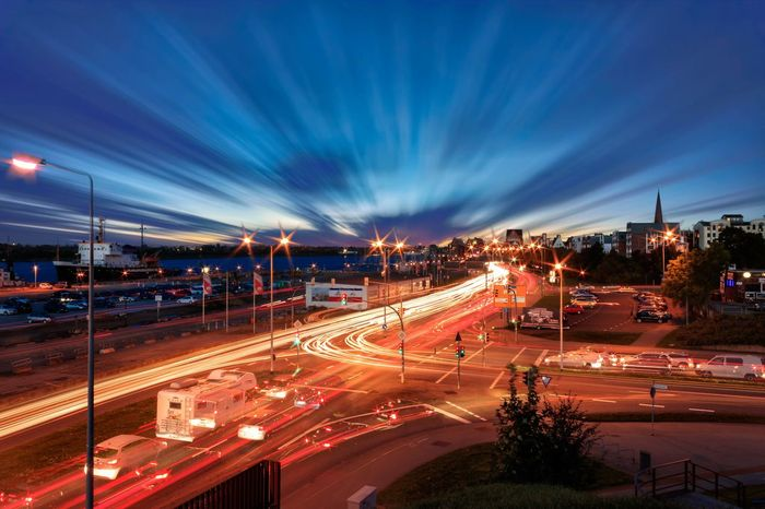 Motion Illuminated Long Exposure Night Outdoors City Sky No People Rostock 2017 Stadthafen Rostock
