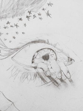 Photo Pic I Drew This Something I Drew ArtWork Gray Art Black And White Eye Hand