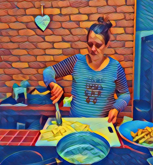 Three Quarter Length Standing Casual Clothing Art Creativity Multi Colored Blue Green Color Kitchen Cooking Dinner Cooking Cooking At Home Cooking Life Cooking Time Sarah Sarahs Life Sarah Jones Fries Fries Fries Dinner Dinner Time Dinner Tonight Heart Shaped  Heart Shape
