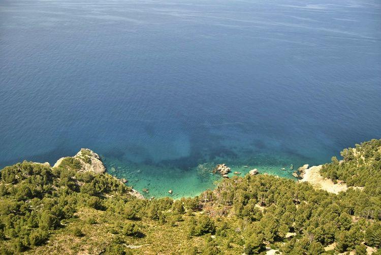 High angle view of land and sea