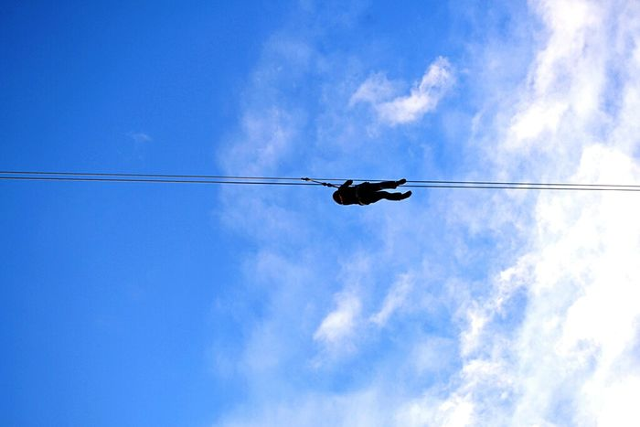 Zipline Sky And Clouds Silhoutte Photography Blue Lostinph Hanging On LINE Feel The Journey Blue Skies