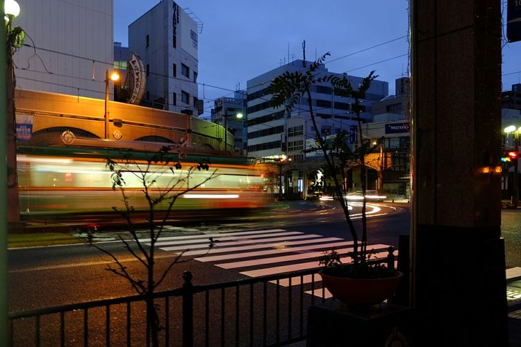 Roaming the streets of Kagoshima Hanging Out Streetphotography Travel Backpacking Nightwalk Blurred Motion Streetcar in Kagoshima Japan