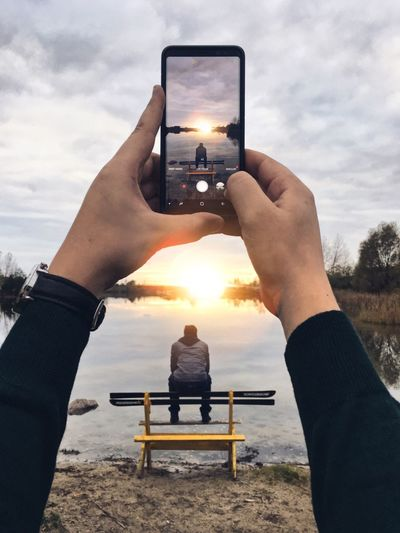 EyeEm Selects Camera Smartphone Screen Sunset Human Hand Photographing