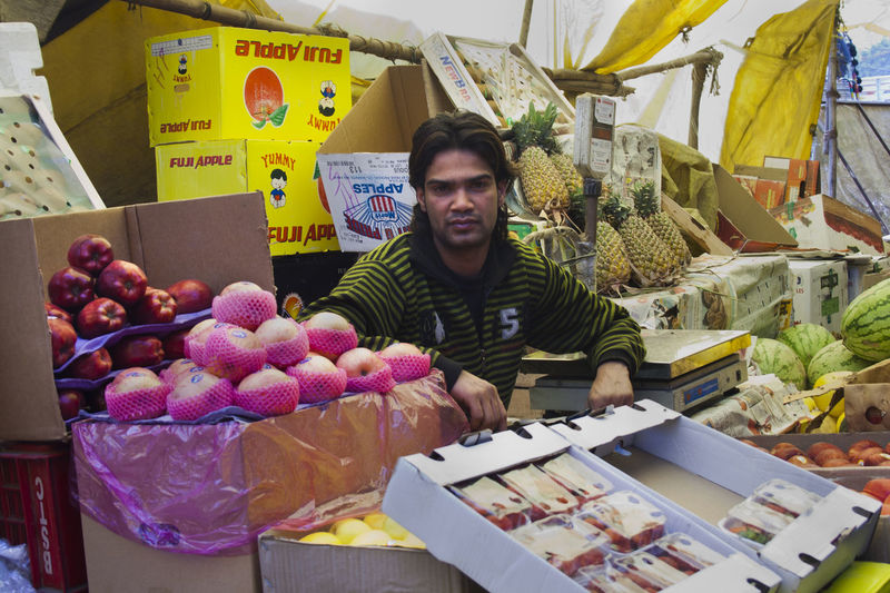 Portrait of a fruits for sale at market stall
