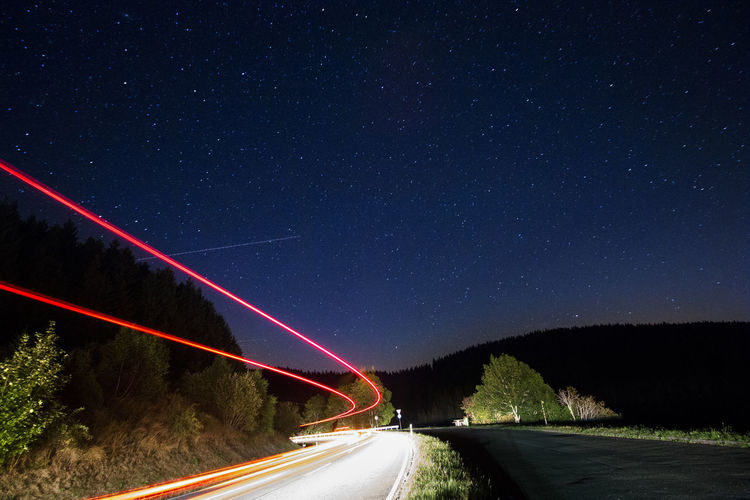 Night Star - Space Road Sky Galaxy Astronomy Long Exposure Street Highway Curve Milky Way