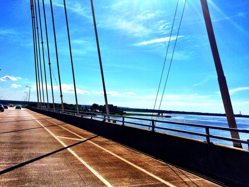 On The Way Traveling Bridge Bridge View Bridges Mississippi River From My Point Of View From The Road Sky And River Lines Blue Sky Clear Sky Diminishing Perspective Live For The Story Sommergefühle
