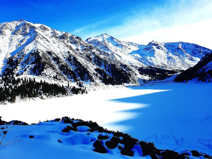 Big Almaty Lake EyeEm Selects Water Mountain Snow Blue Cold Temperature Winter Sky Snowcapped Mountain Verbier Ski Track Rocky Mountains