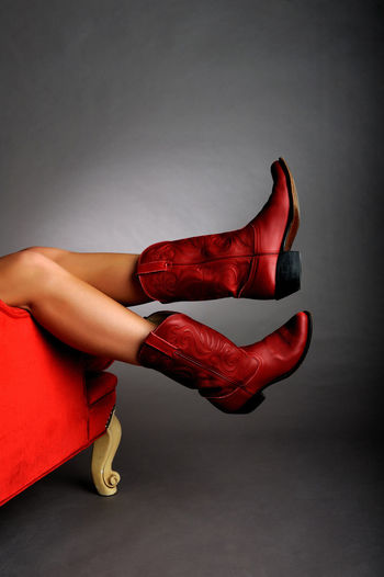 Red Cowboy Boots Beauty Elégance Fashion Fashion Model Human Body Part Human Leg One Person Pair Red Shoe Studio Shot