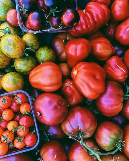 Full frame shot of cherries in market