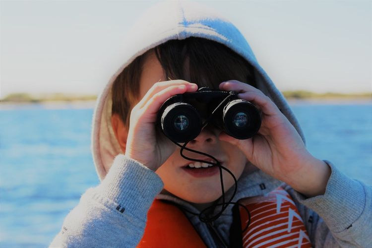 Pensacola Florida Binoculars Boy Eyes Looking Outdoors Sea Sky Toddler  Be. Ready. AI Now AI Now Go Higher Summer Exploratorium Visual Creativity