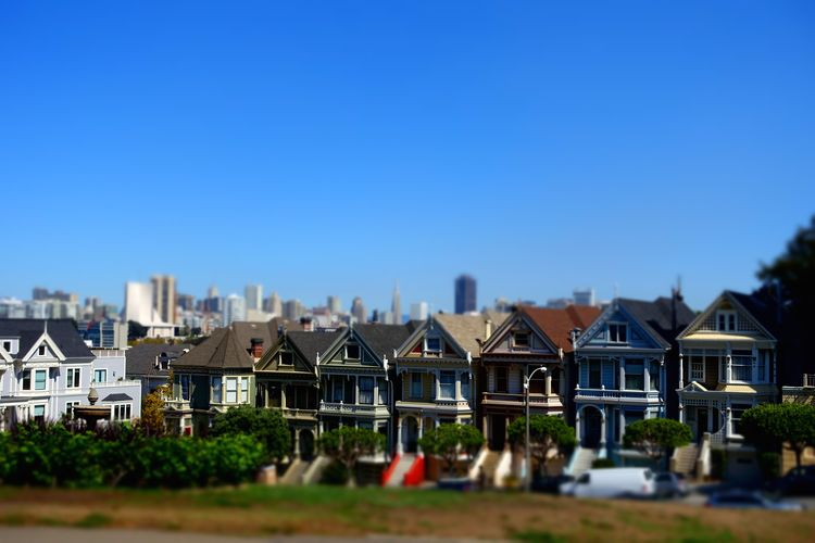 Building Exterior Built Structure Architecture Building House Sky Residential District Copy Space City Clear Sky Day Blue Nature Outdoors Selective Focus No People Sunlight Row House Landscape Cityscape Painted Ladies