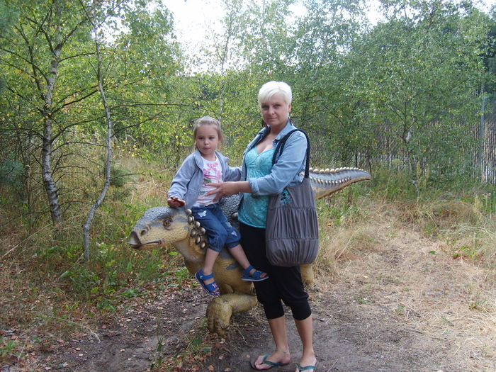 My mom and sister Dinosaur Childhood Day Girls Happiness Nature Outdoors People Smiling Standing Tree Women