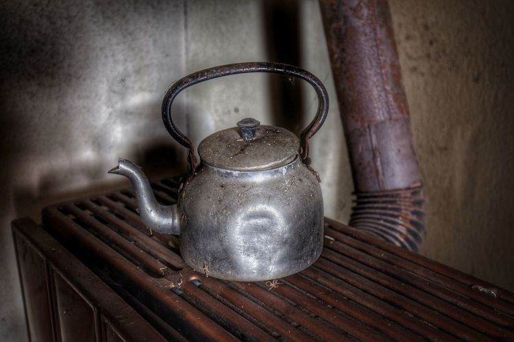 Close-up of tea kettle on stove
