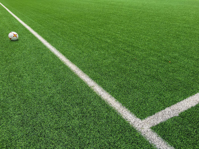 Scenic view of ball on soccer field