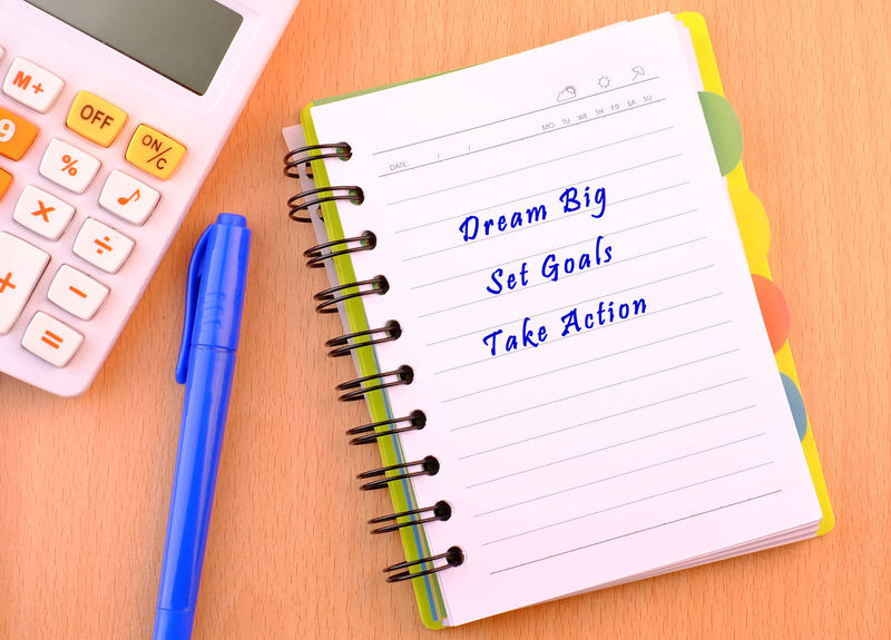 Dream Big, Set Goals, Take Action. Wooden Table Table Concept Set Goals Dream Big Take Action Business Finance And Industry Learning Close-up Ruler Stapler School Supplies Workbook Textbook Homework Clip Pencil Tape Measure Measuring Pencil Shavings Pencil Sharpener Instrument Of Measurement Spiral Notebook Straight Pin Sketch Pad Paper Clip Colored Pencil