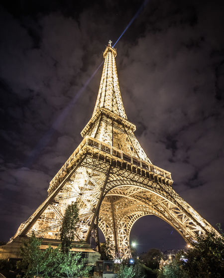Architectural Feature Architecture Built Structure Capital Cities  City Cloud Cloud - Sky Culture Eiffel Tower Engineering Famous Place Illuminated Illuminated City Illumination International Landmark Low Angle View Nightphotography No People Outdoors Paris Sky Streetphotography Tourism Travel Destinations EyeEmPhoto Fresh On Eyeem  Been There.