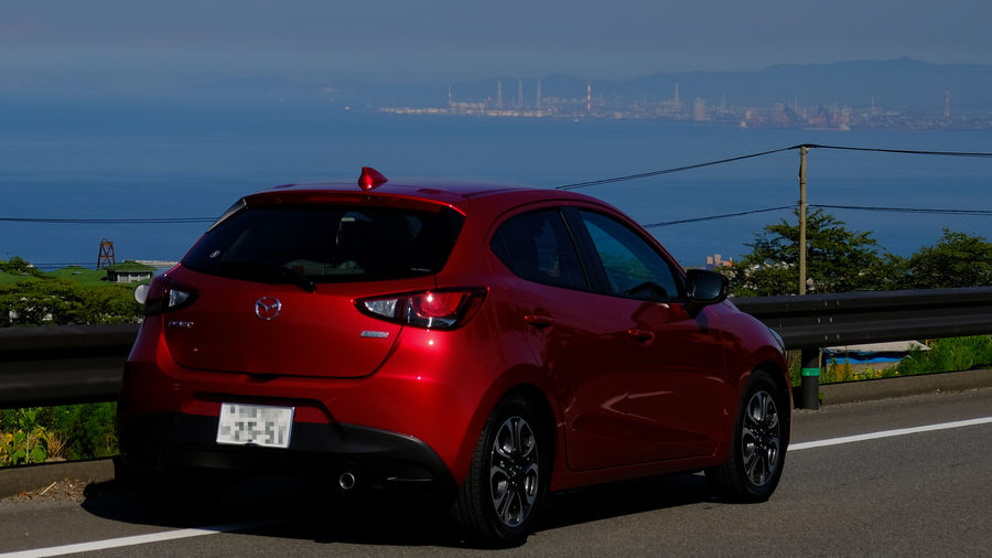 Car Day Demio Land Vehicle Mazda DEMIO Mazda2 Mode Of Transport Motor Vehicle No People Outdoors Parked Parking Red Road Sky Stationary Street Tail Light Transportation Travel
