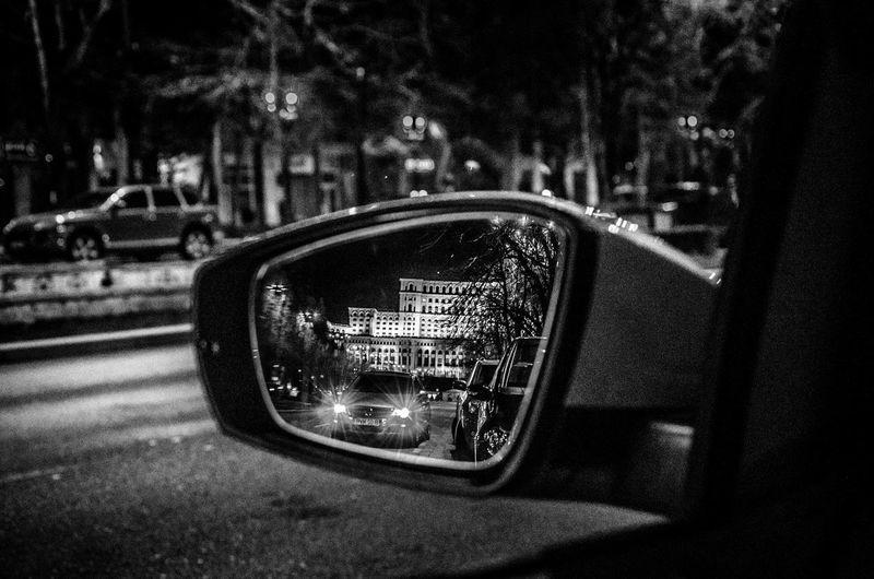 Night Photography Night Romania Bucharest City Car Reflection House Of Parliament Casa Poporului