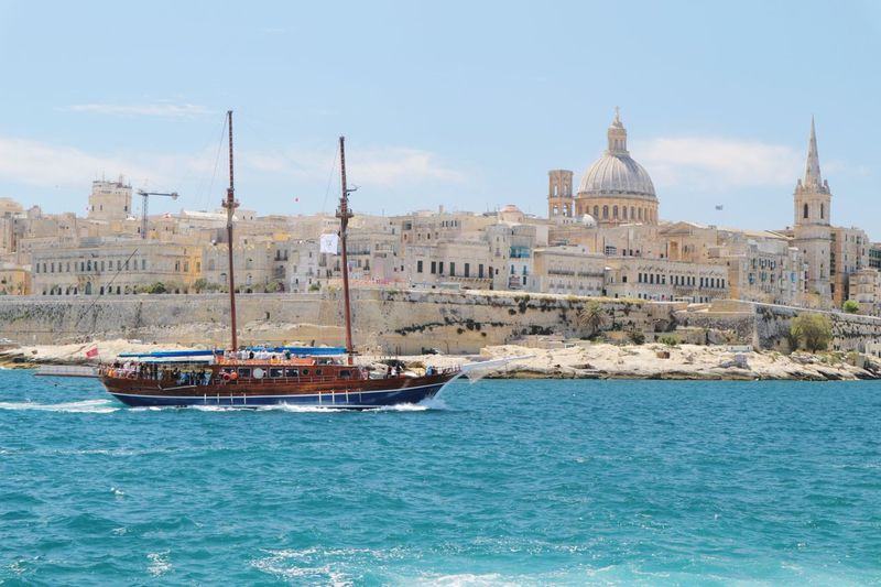 Water Architecture Waterfront Nautical Vessel Sky Cityscape Malta Boat Valetta Blue Building Exterior No People Outdoors Day City Travel Destinations Ship Trip Sea View