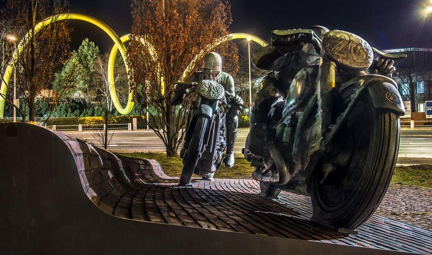 Panoramic shot of illuminated sculpture at night