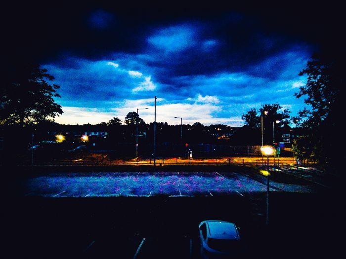 Car Sky Dramatic Blue Outdoors Night Buildings Illuminated Tree Sky Cloud - Sky Vehicle