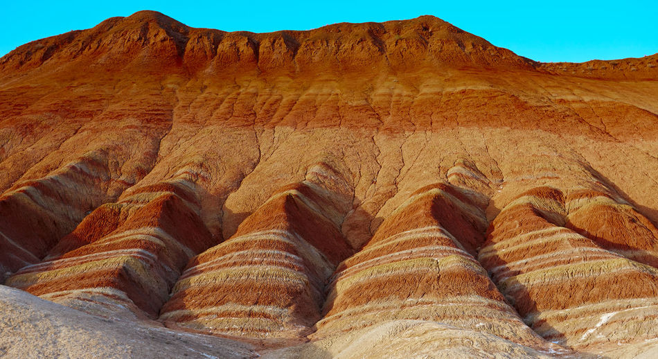 Zhangye Danxia landform area Gansu, China Clear Sky Danxia Landform Day Desert Geology Landscape Mountain Nature No People Outdoors Physical Geography Rock - Object Sky Zhangye