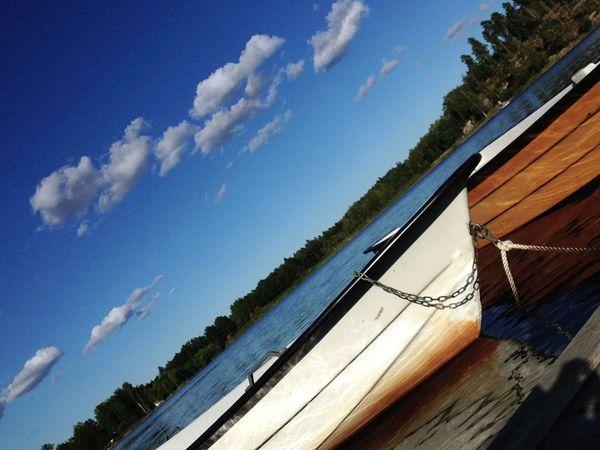 Cloudscape Lake Blue Boat Hello World Rowingboat Swedish Summer Sweden Calmness