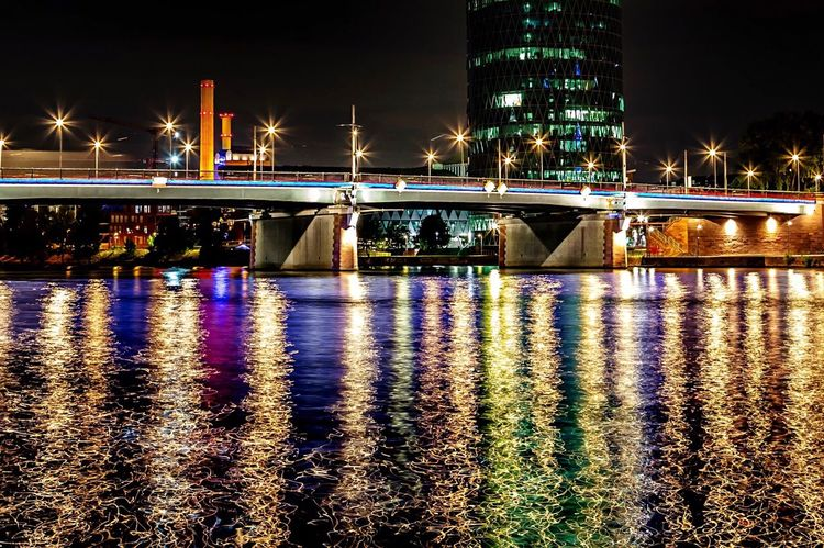 Reflections Water Germany Frankfurt Am Main Illuminated Night Water Built Structure Architecture Reflection City Building Exterior Waterfront Nature Connection Bridge - Man Made Structure Bridge Sky No People River Outdoors Lighting Equipment Transportation Light