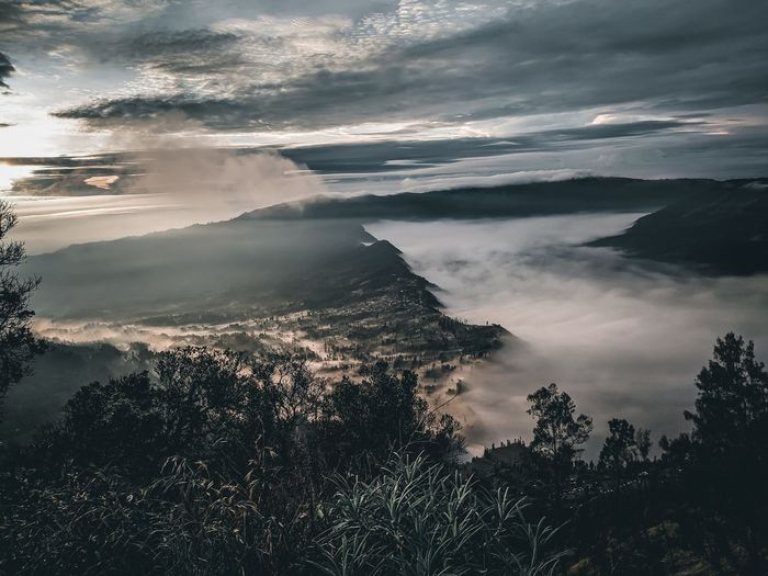 Scenic view of mountains against sky. bromo mountain view from the top in the morning.