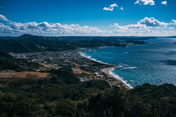 High angle view of seashore in japan