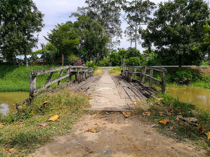 local wood bridge in the country The Way Forward Tree Day Nature Outdoors Growth No People Tranquility Wood - Material Bridge View Architecture Travel Travel Destinations Canal Country Life Countryside Beauty In Nature Sky Grass