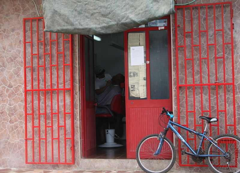 Architecture Barber Shop Bicycle Building Exterior Built Structure Capo Verde Day Espargos Outdoors Real People Red Sal Island Summer 2015 Transportation