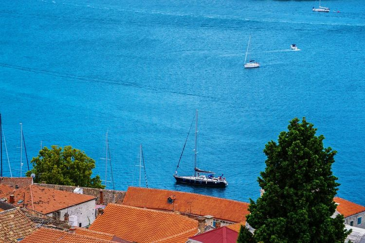 Nautical Vessel High Angle View Sea Tree Mode Of Transport Blue Outdoors Transportation Day Architecture No People Building Exterior Built Structure Water Ship Sky Nature Scenics Beauty In Nature Sailboat Croatia ❤ City