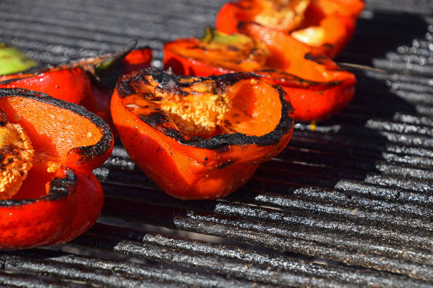 Fresh bbq pepper, vegetables preparing on iron forged outdoors grill Barbecue BBQ Bbqtime Close-up Day Food Food And Drink Food And Drink Fresh Freshness Grilling Half Healthy Eating No People Outdoors Pepper Ready-to-eat Red Red Peppers Vegetable Visual Feast